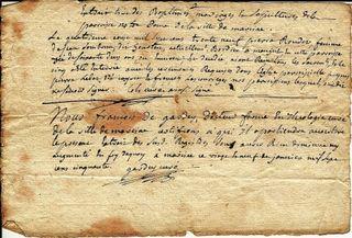 Extrait Baptêm 4 août 1739 chapitre Cols curé et Gardey Curé comp