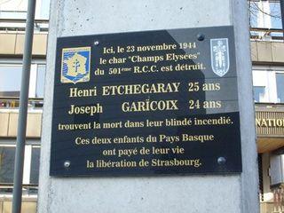 Koufra A Etch plaque commémorative Strbg rue Molsheim Gendarmerie