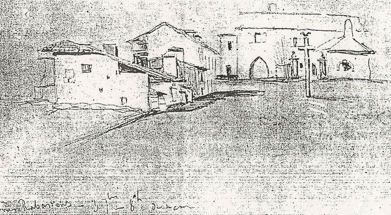 Dessin de V Hugo en 1843 la porte de Villecomtal