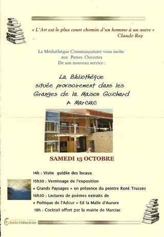 Tract invitation inuaguration biblio provisoire marciac 15 10 2011