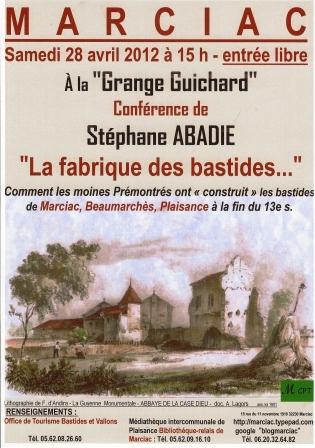 Affiche  MCPT conférence 28 04 12 15h Grange Guichard Marciac comp