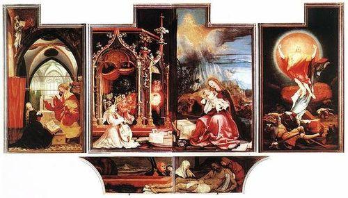 Retable Issenheim Vierge Marie annonciation naissance mort résurrection