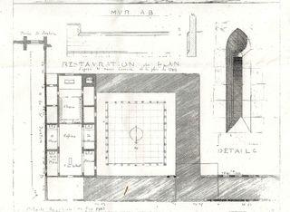 Rohault de Fleury selon H carrère plan église cloître 1 comp