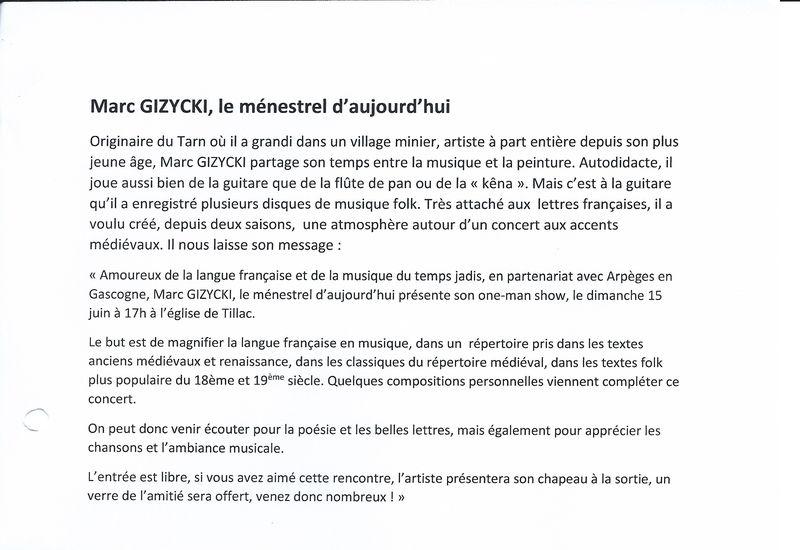 Marc Gizycki le ménestrel