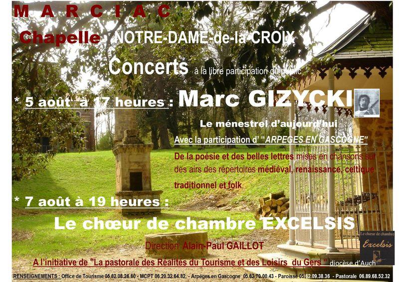 Chapelle NDC concerts des 5 et 7 août 2014 publicité flyer affiche