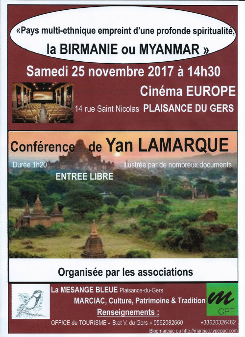 0 MCPT conf LAMARQUE Birmanie 2017 11 25 14h30 Plaisance du Gers