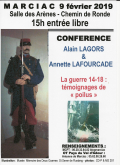2019 02 09 Conférence A Lagors et A Lafourcade Guerre 14-18 témoignages de poilus