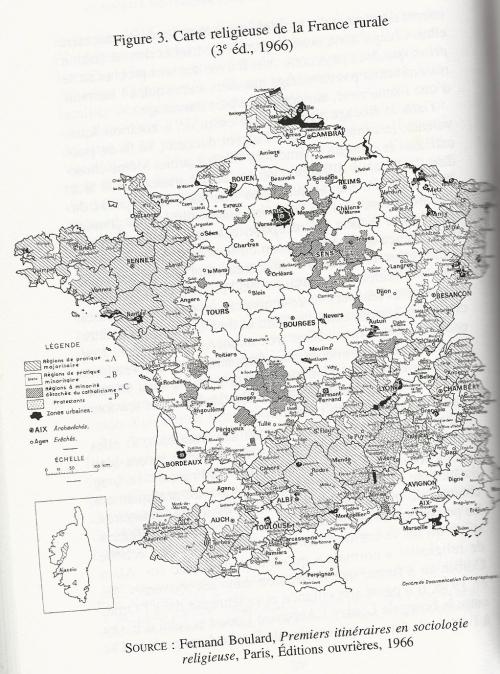 4 carte pratique religieuse rurale 1966 Guillaume Cuchet